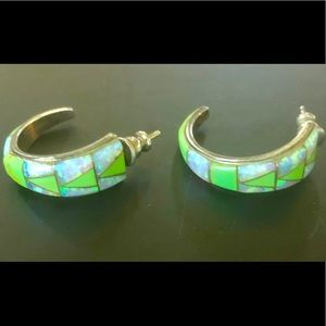 Navajo Green Turquoise Opal Sterling 925 Earrings